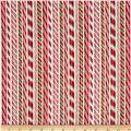 Robert Kaufman Holly Jolly Christmas Candy Canes Ivory