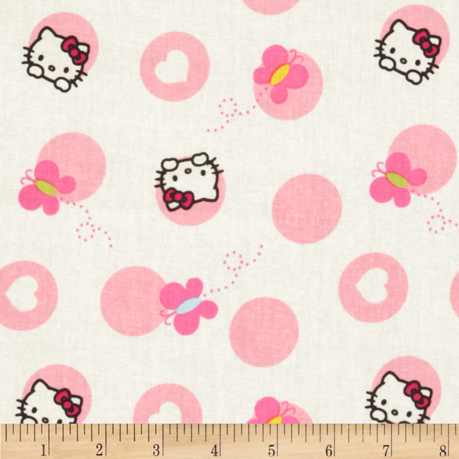 Hello Kitty Nursery Dots and Butterflies White Fabric