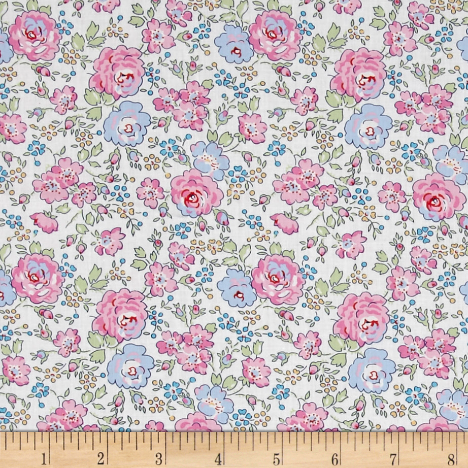 Liberty of London Classic Tana Lawn Felicite White/Pink Fabric by Liberty Of London in USA