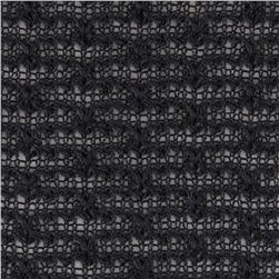 Sweater Knit Open Weave Slub Black