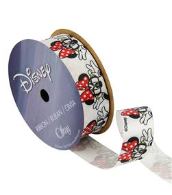 "7/8"" Minnie Mouse Ribbon with Glasses White"