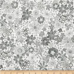 Kaufman London Calling Lawn Floral Burst Grey