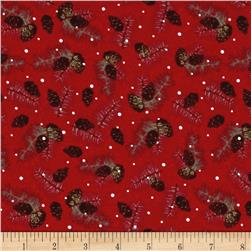 Woodland Noel Flannel Pine Cones Red