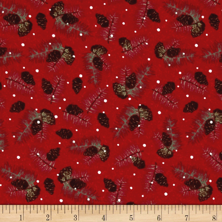 Woodland Noel Flannel Pine Cones Red Fabric By The Yard