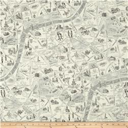 Moda Passport London Map Black/White Fabric