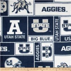 Collegiate Fleece Utah State University Allover Fabric