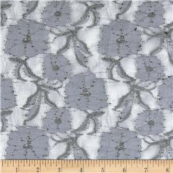 Stretch Textured Lace Flowers Greyish Purple