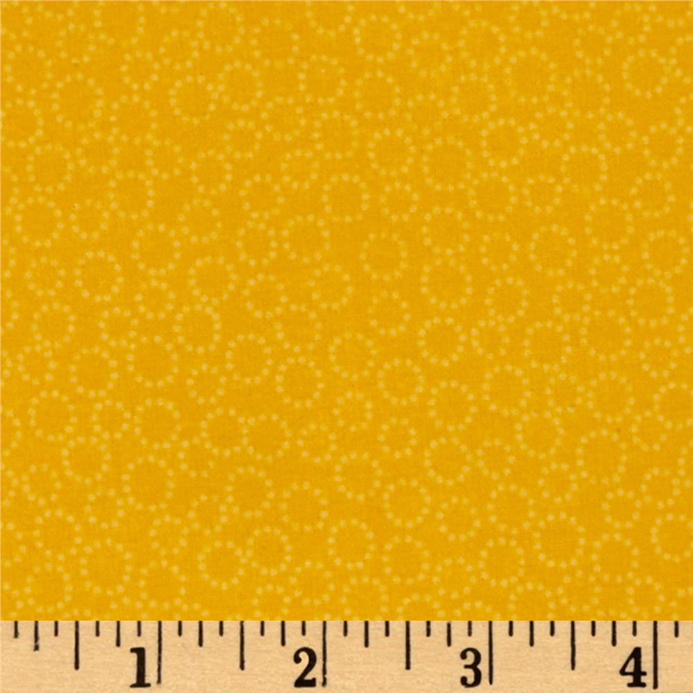 Storybook Flannel Dotted Rings Yellow Fabric