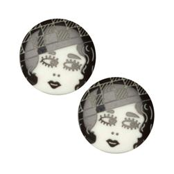 Novelty Button 3/4'' Flapper Black/White