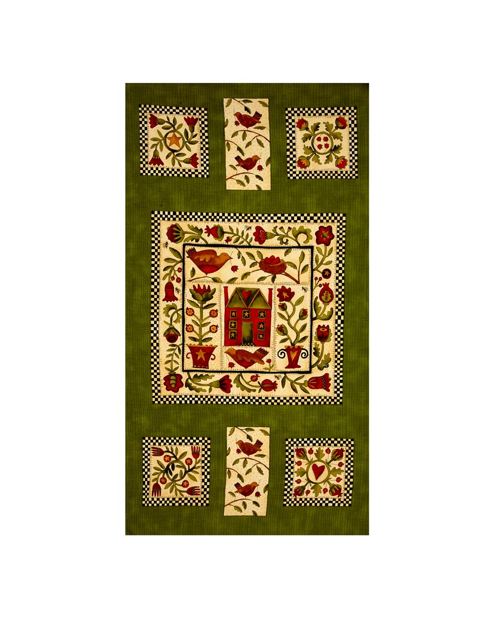 "Moda Round Robin 23.5"" Panel Fiddlehead Green"