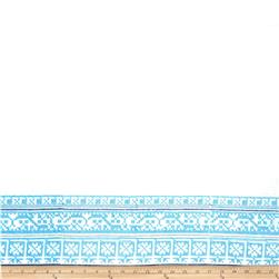 Embroidered Lawn Cross Stitch Border White/Turquoise