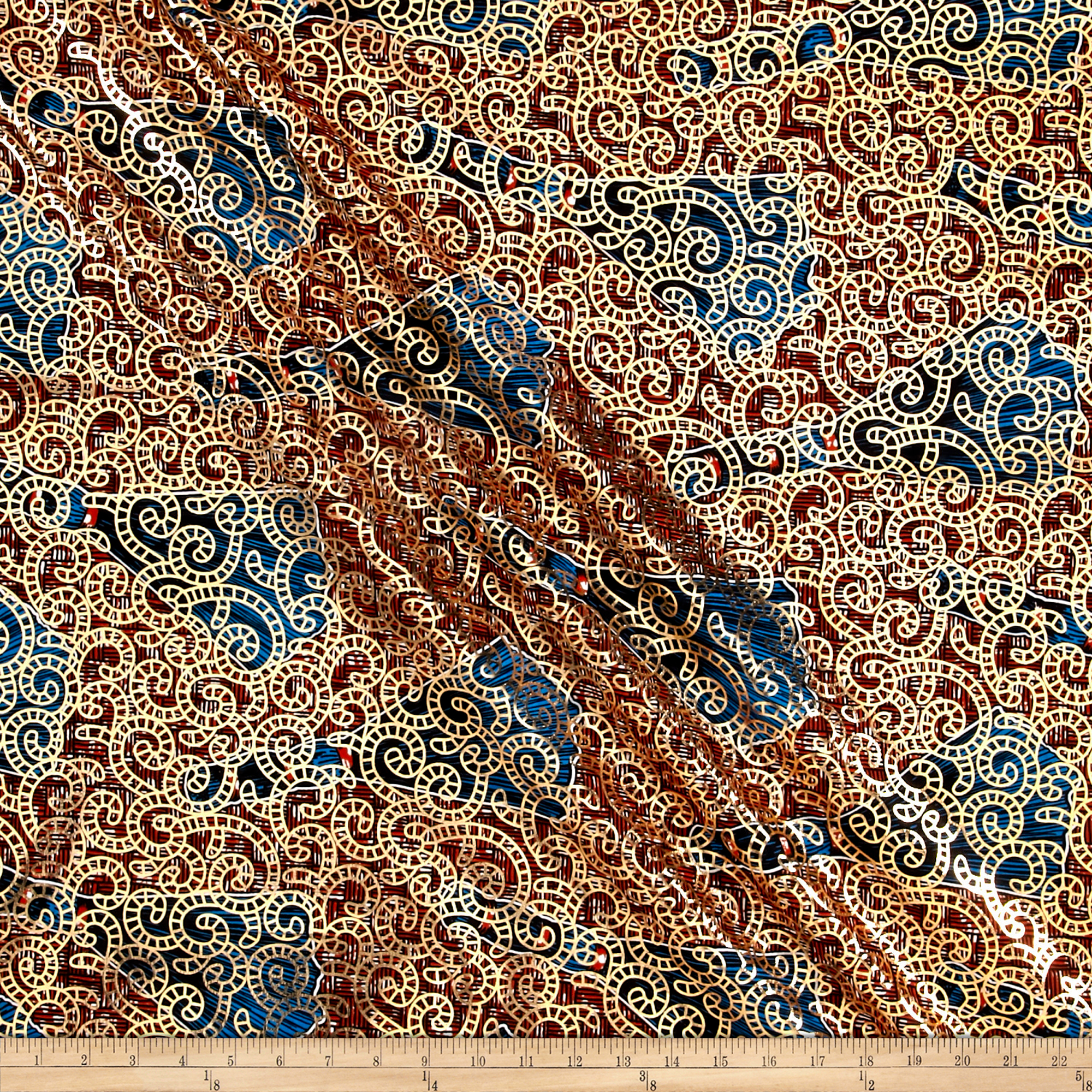 Supreme Osikani African Print Broadcloth 6 Yard Metallic Red/blue