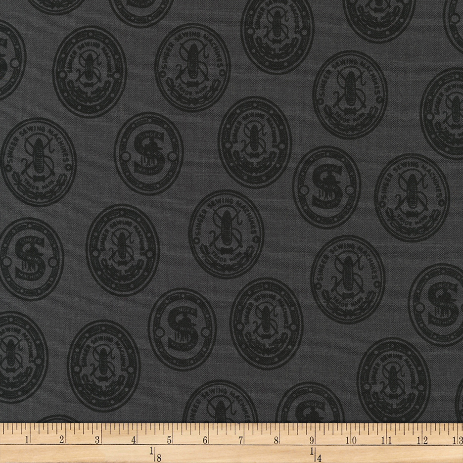 INOpets.com Anything for Pets Parents & Their Pets Kaufman Sewing With Singer Medallion Charcoal Fabric