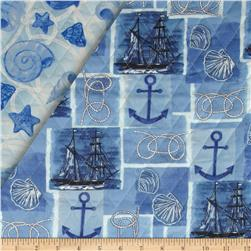 Harbor Point Double Sided Quilted Nautical Patchwork Blue