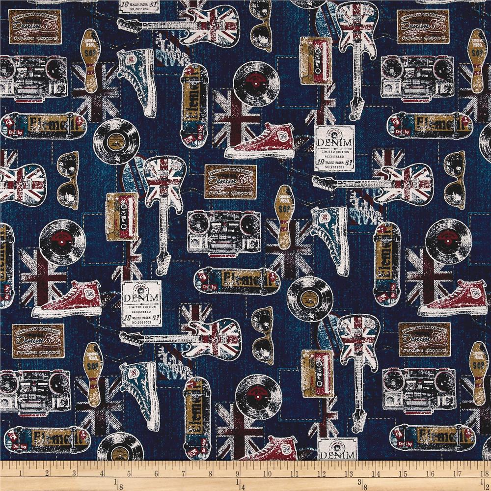 Cosmo Vintage Cotton Linen Blend Navy Fabric