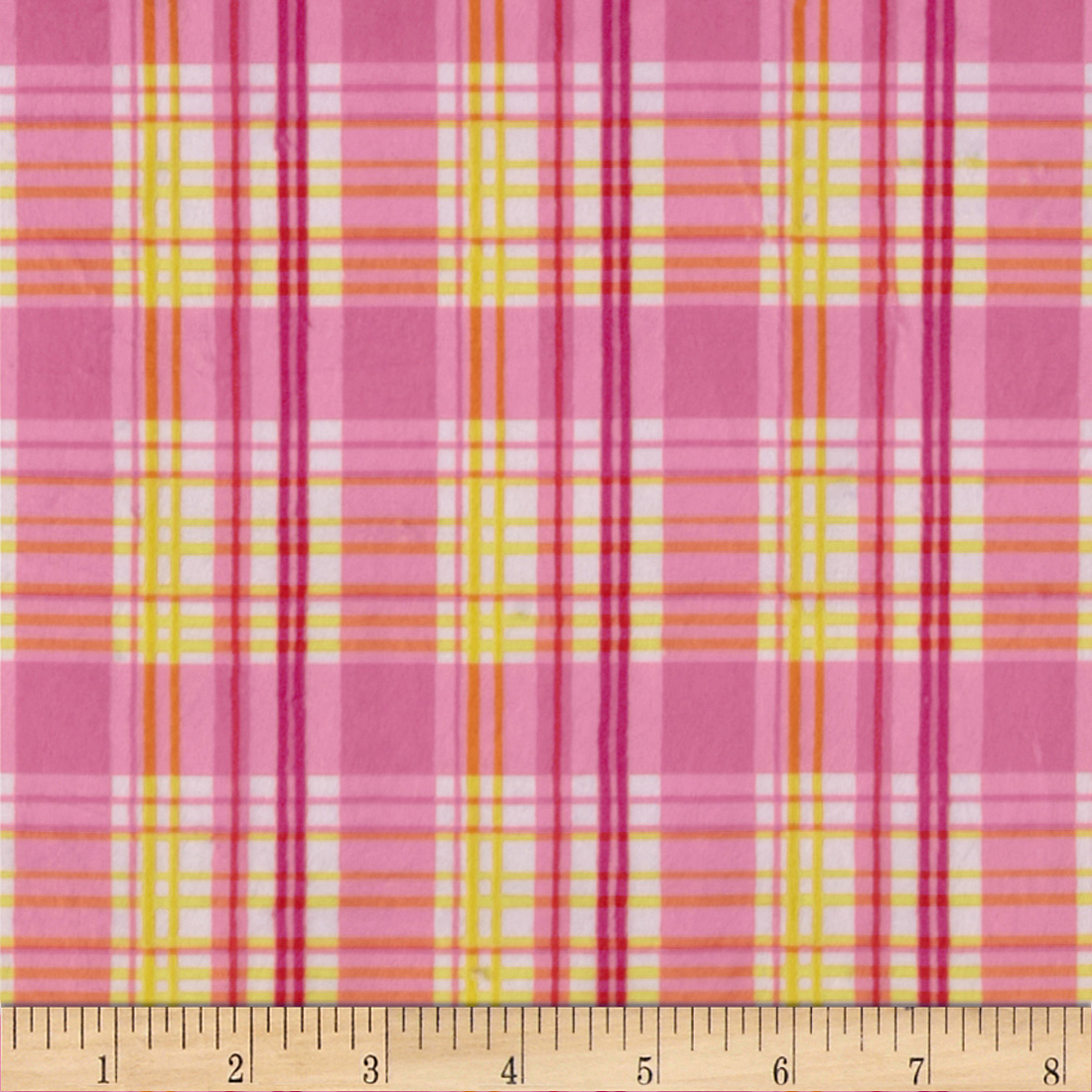 Minky Candy Plaid Pink/Yellow Fabric