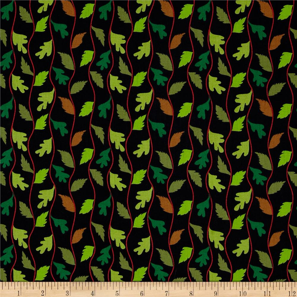 A Floating World Studio Wavy Leaves Black/Green