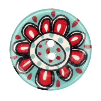 Novelty Button 1-3/8'' Flower Power Turquoise/Red