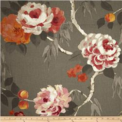Hamilton Peaches Floral Linen Blend Charcoal Fabric