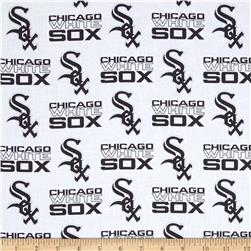 MLB Cotton Broadcloth Chicago White Sox Black/White Fabric