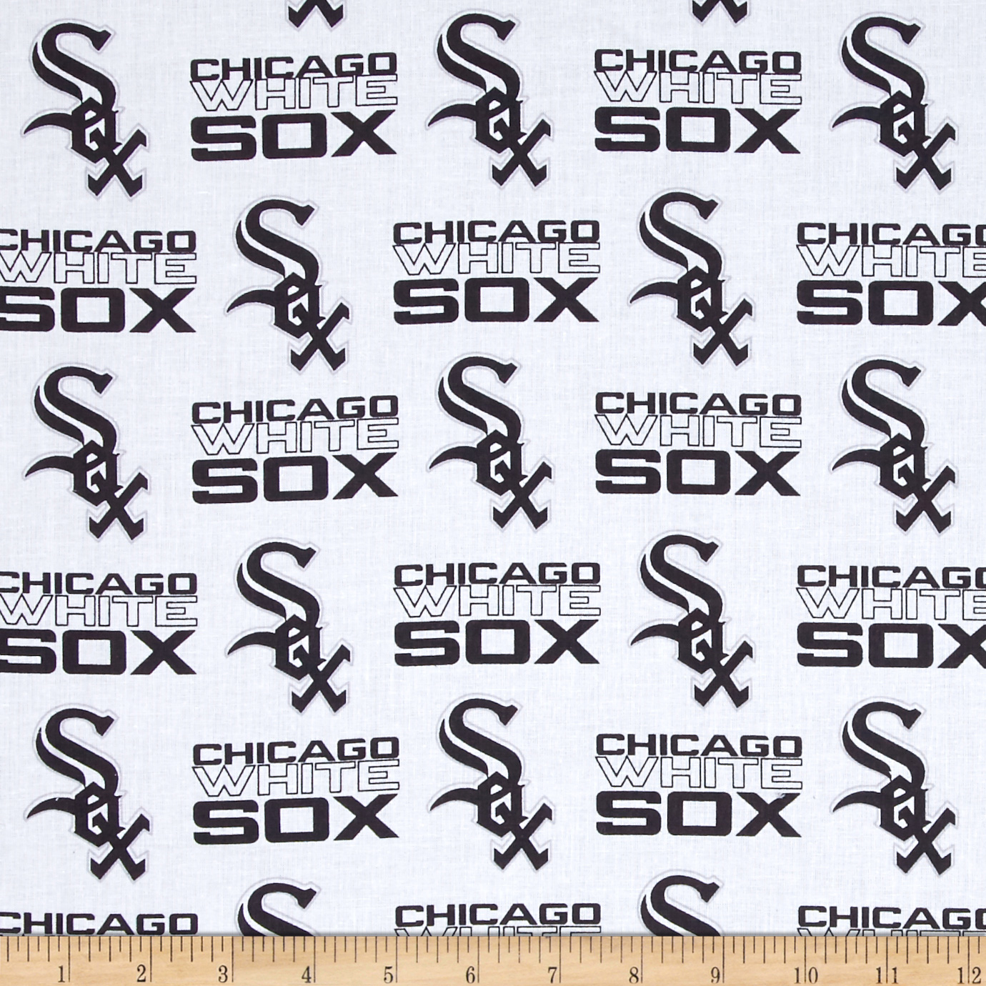 MLB Cotton Broadcloth Chicago White Sox Black/White Fabric by Fabric Traditions in USA