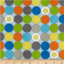 Alpine Flannel Blast Off Star Dots Blue Fabric