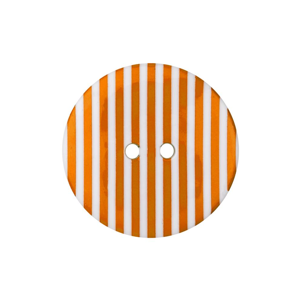 "Dill Novelty Button 1-3/8""  Orange Stripe on White"