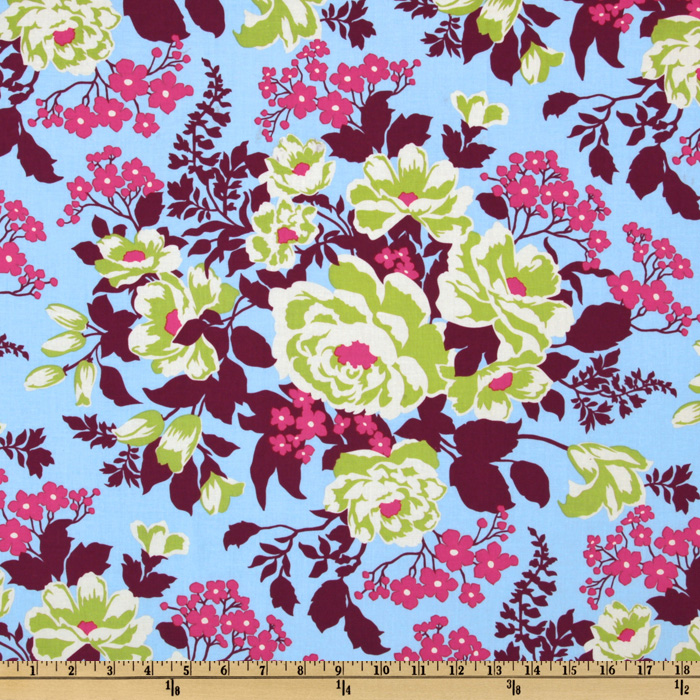 Joel Dewberry Heirloom Rose Bouquet Sky Fabric