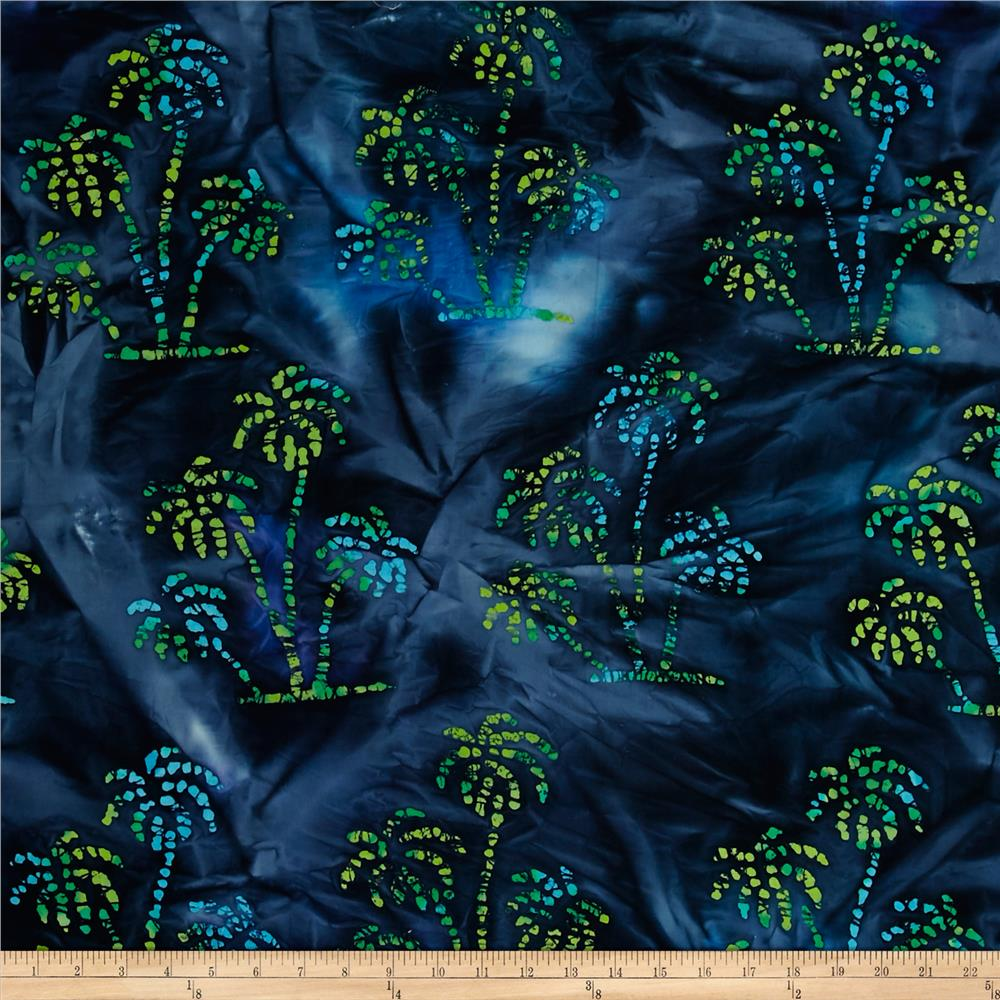 Indian Batik Ocean Grove  Palm Trees Navy/Blue/Grn