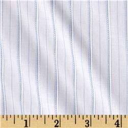 Stretch Cotton Dobby Shirting Stripes White/Blue/Silver