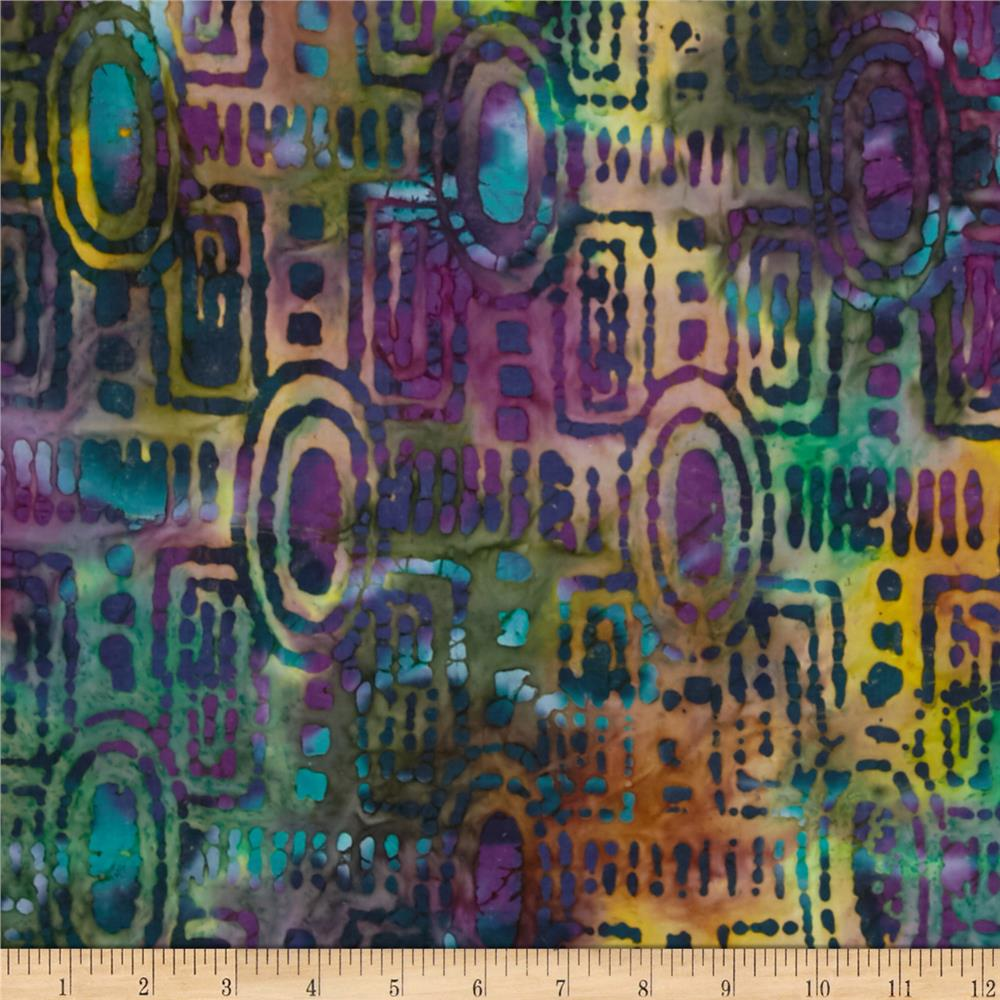 Indian Batik Bronze Mosaic Geo Teal/Purple
