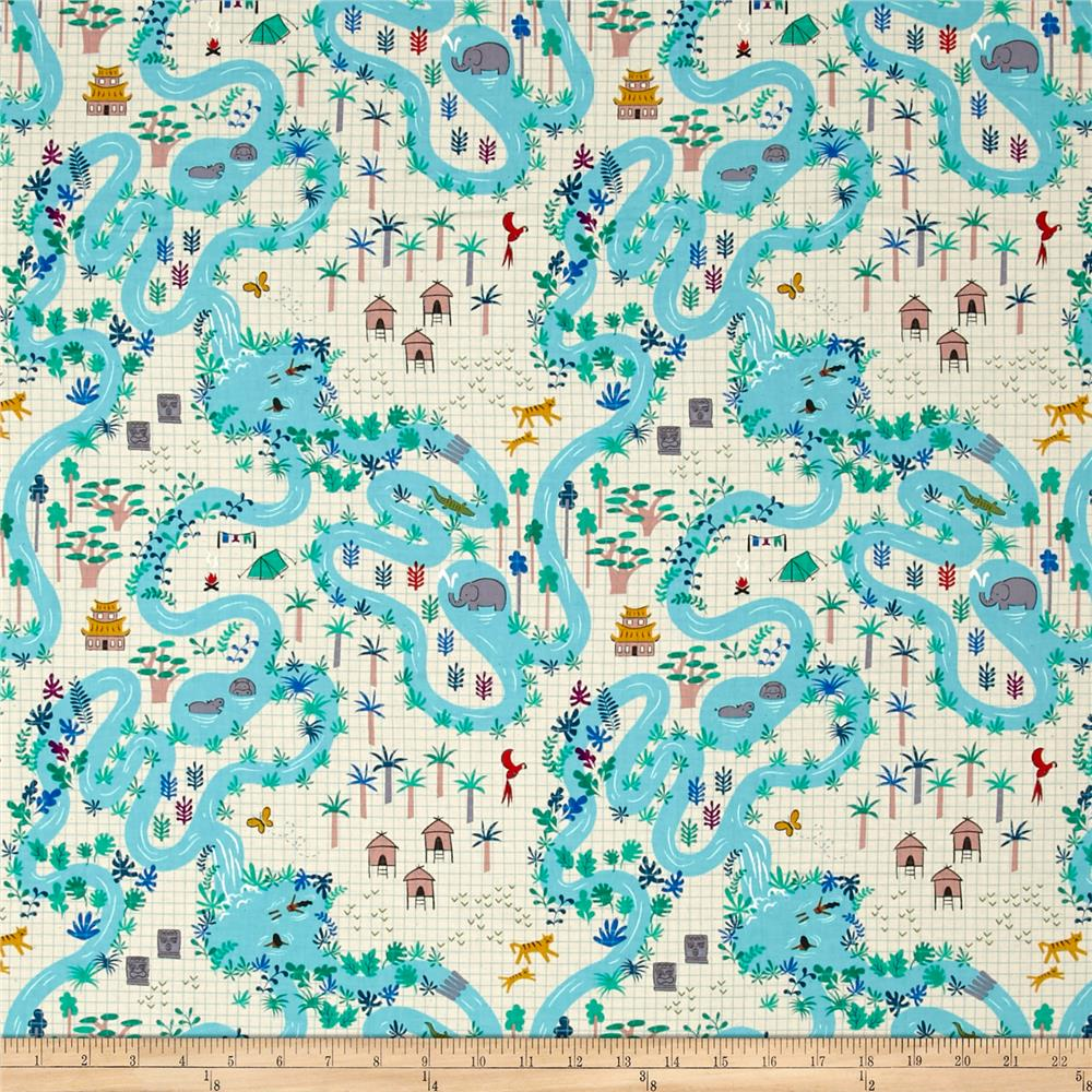 cotton steel lagoon map natural fabric