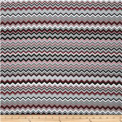 A.E. Nathan Chevron Red/Black/Grey Fabric