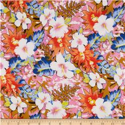 Rayon Challis Floral Orange Blue