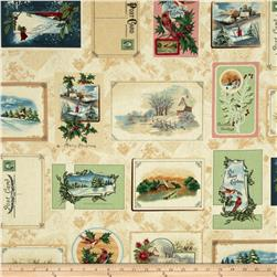 Holiday Greetings Christmas Postcards Cream/Multi
