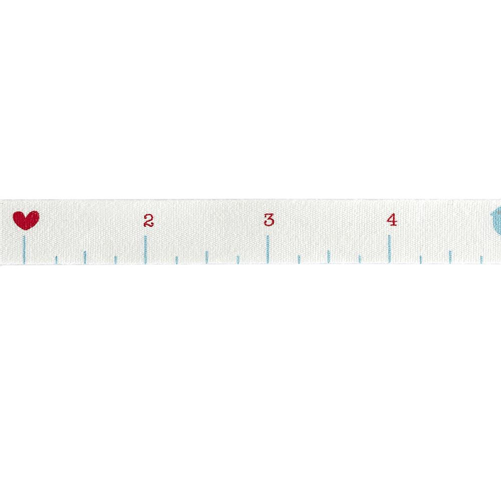 "Riley Blake 1/2"" Cotton Tape Ribbon Ruler White"