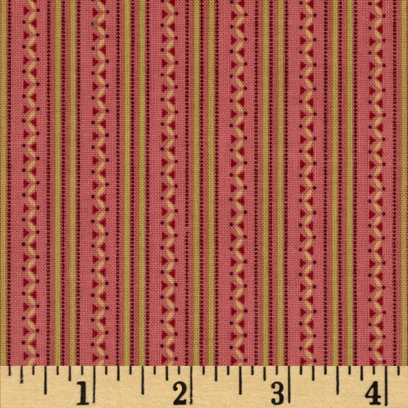Tiny Geometric Stripe Rose Fabric