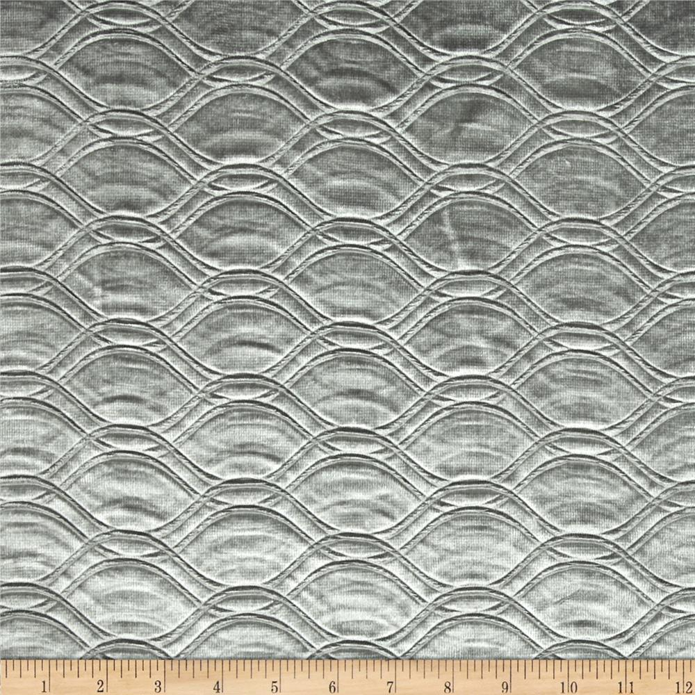 Tempo Embossed Velvet Circles Grey