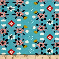 Birch Organic Wildland Interlock Knit Flowerbed Blue