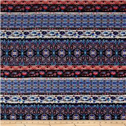 Rayon Challis Aztec Stripe Black/Red/Blue/Orange