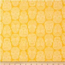 Fabric Fiesta Tonal Skulls Yellow