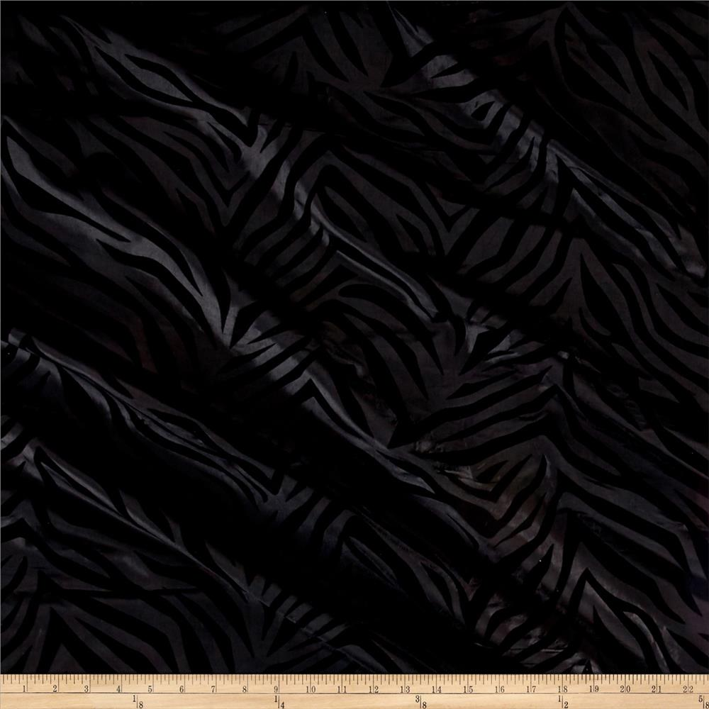 Flocked Zebra Taffetta Black