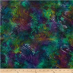 Indian Batik Lava Stone Swirls Teal/Purple