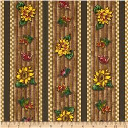 Autumn Bounty Sunflower Stripe Multi/Brown Fabric