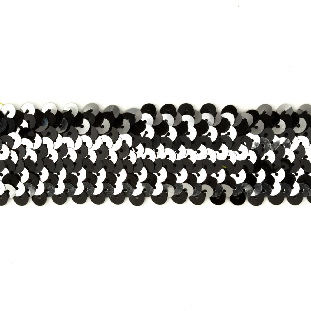 "1-1/2"" Metallic Stretch Sequin 4 Row Trim Black/Silver"