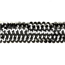 1-1/2'' Metallic Stretch Sequin 4 Row Trim Black/Silver