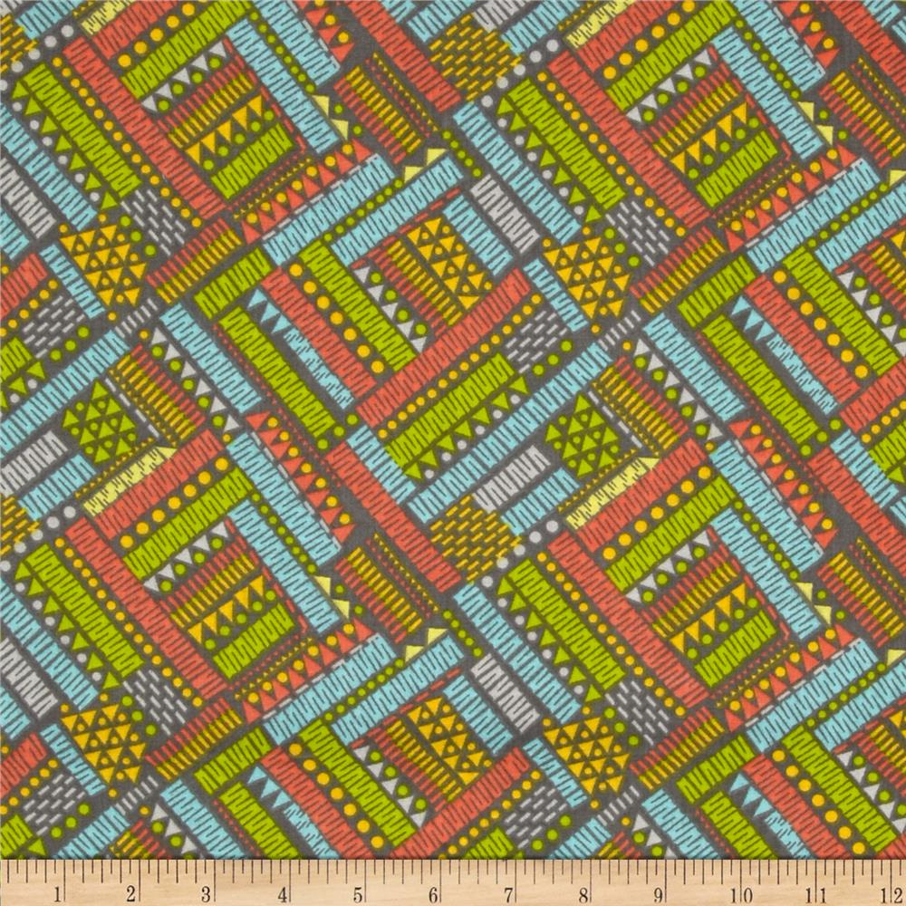 Floral Fairground Geo Stripes Gray