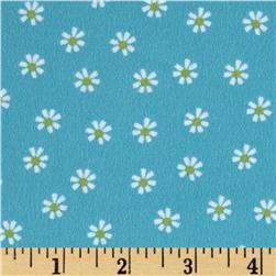 Woodland Friends Flannel Daisy Blue