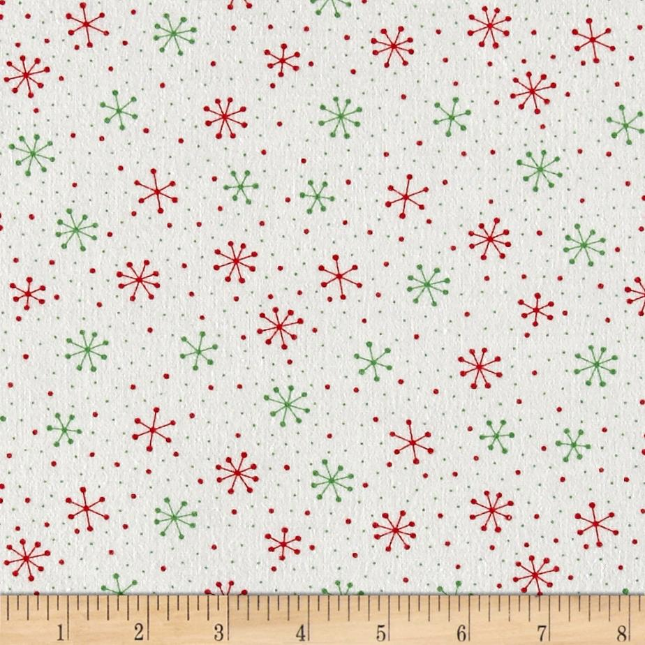 Moda Red Dot Green Dash Brushed Cottons Snowflakes Dots Multi Fabric