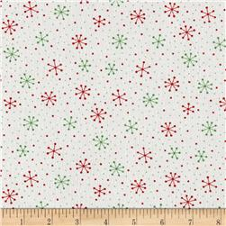 Moda Red Dot Green Dash Brushed Cottons Snowflakes Dots Multi